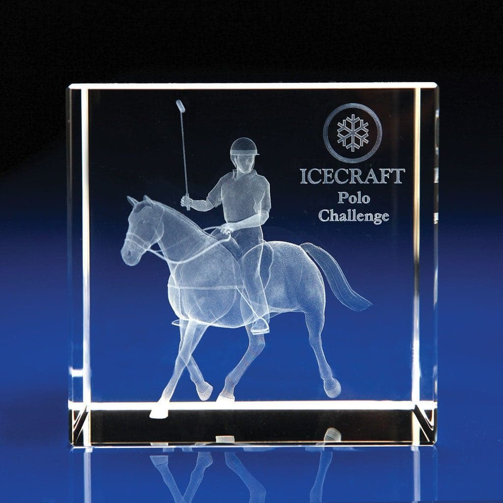 Crystal Cube Award - Polo Trophy, Equestrian Trophies & Awards, Horse awards & trophies