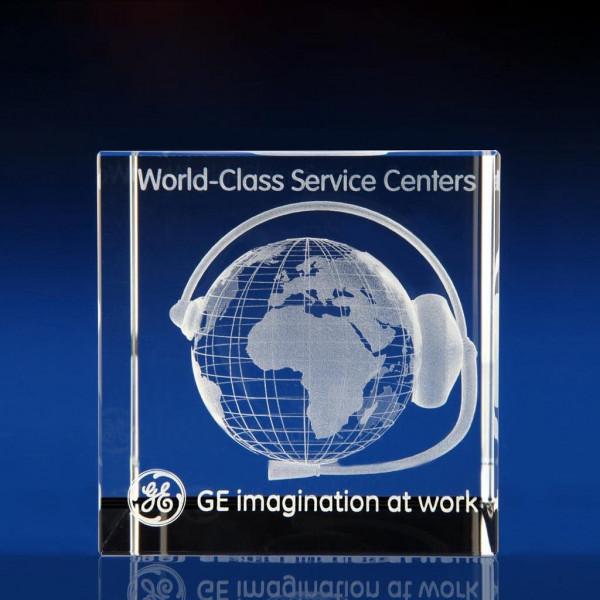 Cube award, corporate anniversary, 3D world globe, 3D glass cubes