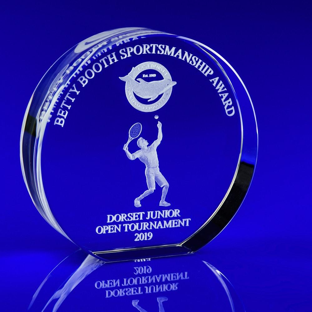 Glass Tennis Trophy