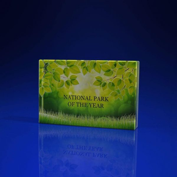 Plaque Crystal Award - National Park Print
