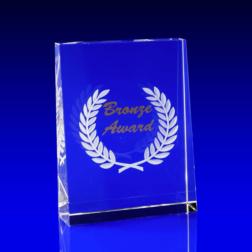 Tapered Portrait Crystal Award - Bronze print & engraving, bronze awards, corporate awards, metallic print