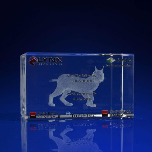 Rectangle Crystal Award - Lynx Print