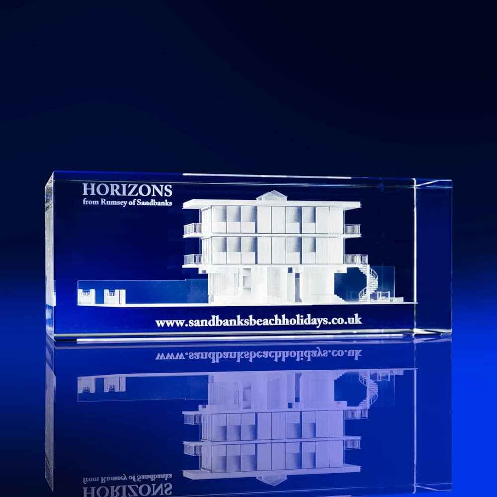 Rectangle Bespoke 3D engraved Awards, Building Awards, Construction Awards, Architectural Awards, Crystal Incentives, Event giveaways, Event promotional items, Business promotions