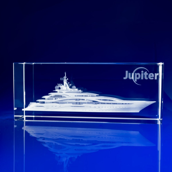 Rectangle Bespoke Awards - 3D crystal Superyacht, Chamonix Boat Crystal Award, sailing awards, sailing awards and trophies, sailing prizes, sailing trophies, sailing trophies uk, sailing trophy ideas, nautical awards, maritime awards, custom trophies, glass trophies, glass sports trophies, Boats