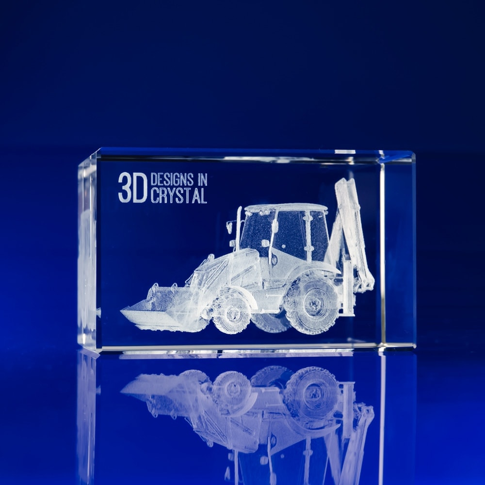 Crystal Bespoke Awards - 3D Engraved tractor, corporate awards, Corporate crystal Awards, corporate promotional gifts, crystal art glass, corporate recognition awards, business awards, glass awards, glass corporate awards, Industrial Awards, Construction Awards, Crystal designs