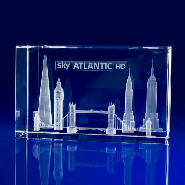 Rectangle Bespoke Awards - Engraved Skyline, London Skyline, Crystal Awards, Corporate Awards, Big Ben Crystal, Tower Bridge, Broadcasting Awards, 3D Engravings, corporate awards