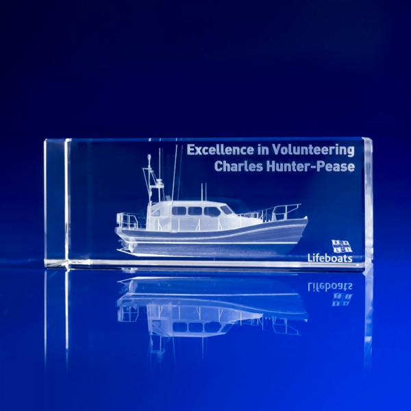 Rectangle Corporate Awards, Long service awards ideas, office awards, RNLI Awards, Boats in Crystal, 3D laser engraving crystal art, charity awards, volunteer gifts, recognition awards, promotional gifts, employee excellence awards, office awards