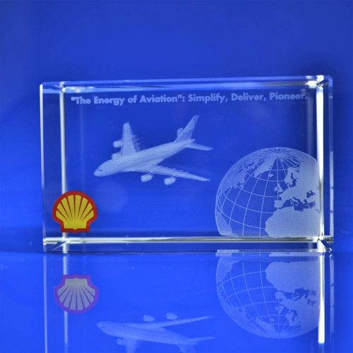 Rectangle Crystal Award 3D engraved with full colour print