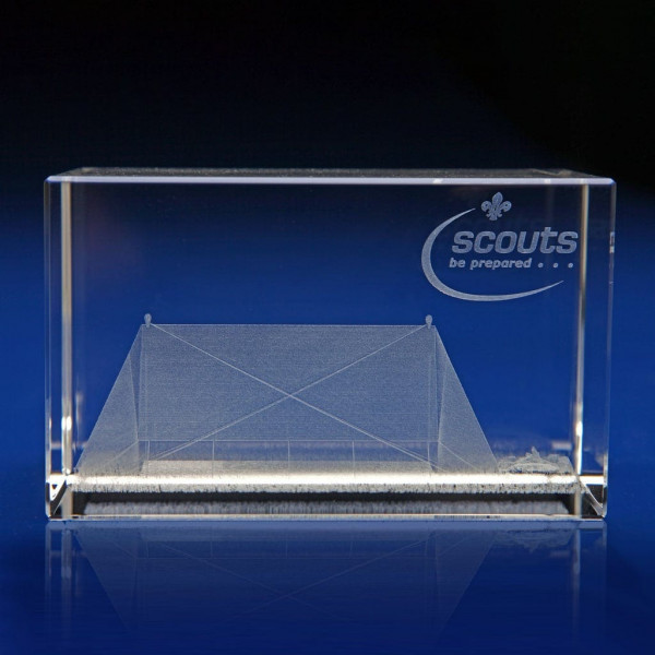 Scouts and guides gifts, crystal awards for organisations, scouts achievements, scouts awards, Rectangle - Scout