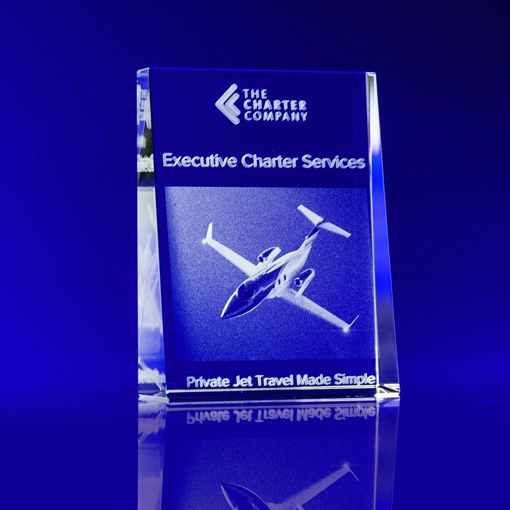 Tapered Portrait Crystal Award - Plane, Aeroplane, Aviation, Crystal Awards, corporate awards, orporate awards, Corporate crystal Awards, corporate promotional gifts, crystal art glass, corporate recognition awards, business awards, glass awards, glass corporate awards, event awards, sponsorship awards, industry awards