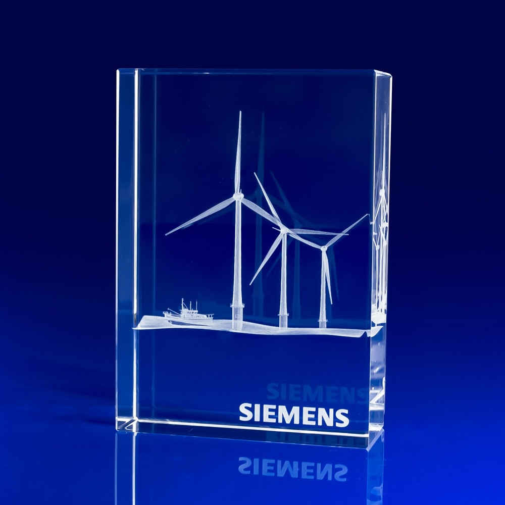 Venice Crystal Award, 3D engraved wind turbines, corporate awards, Corporate crystal Awards, corporate promotional gifts, crystal art glass, corporate recognition awards, business awards, glass awards, glass corporate awards, event awards, sponsorship awards, industry awards, product promotional giveaways, crystal gifts