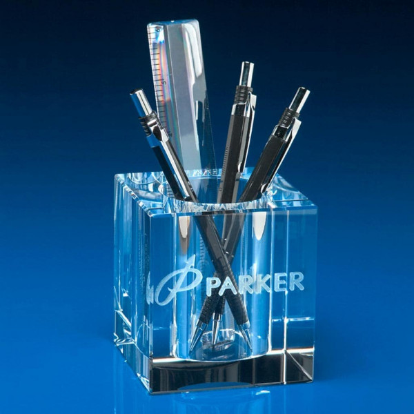 corporate glass gifts, pen pot, business promotional products