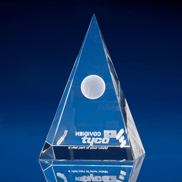 Pyramid Crystal Awards, employee of the year award, corporate awards, pyramid awards, crystal designs, glass awards, paperweight award