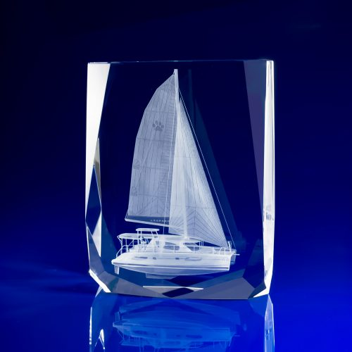 Chamonix Crystal Paperweight with 3D Yacht