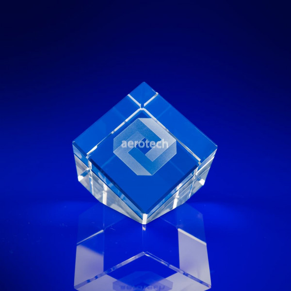 Cube Slant Crystal - 3D laser engraved crystal, corporate awards, crystal awards, Crystal trophies,