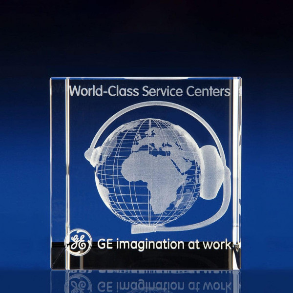 Cube award - 3D world globe, Employee Incentive Ideas, Employee Rewards, Employee awards, Staff awards, office awards, long service awards, glass awards, glass trophies, crystal awards, corporate awards, corporate trophies, engraved awards, achievement awards, recognition awards
