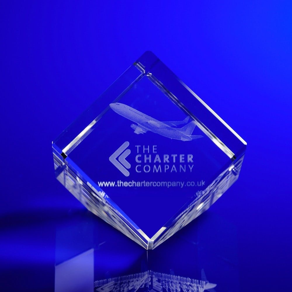 Cube slant paperweight 3D engraved, Personalised Paperweights, paperweight awards, crystal paperweights UK, aviation awards