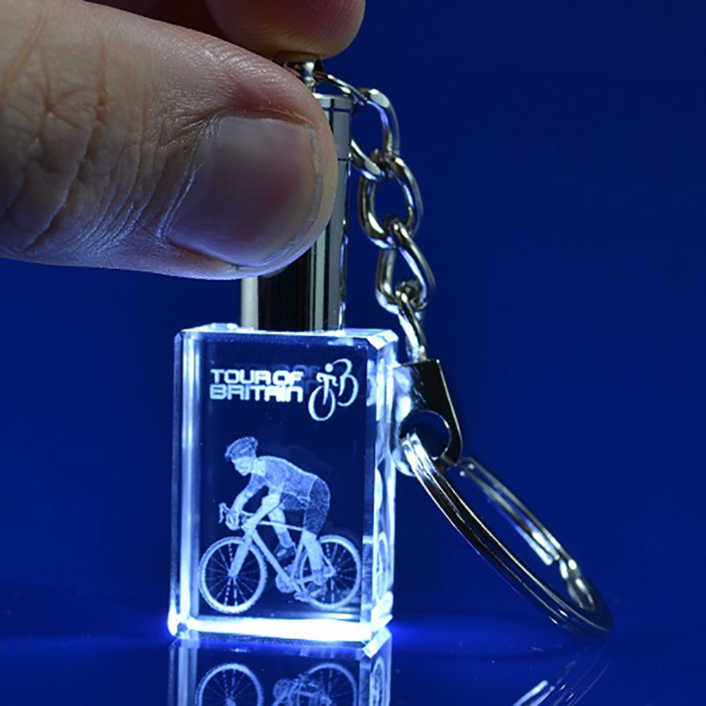 promotional key ring, Keyring LED light, Crystal LED keyring, 30x20x15mm crystal