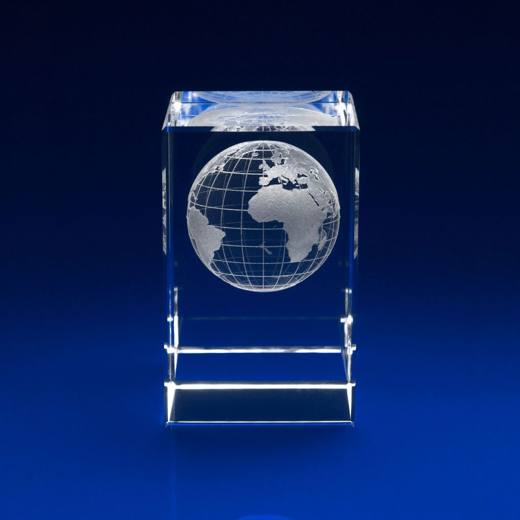 Rectangle Paperweight - 3D world globe