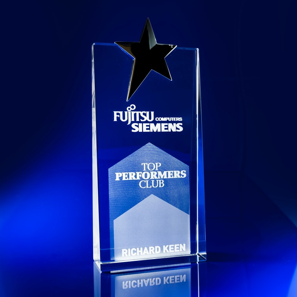 Silver Star Crystal Awards Personalised Crystal Trophies