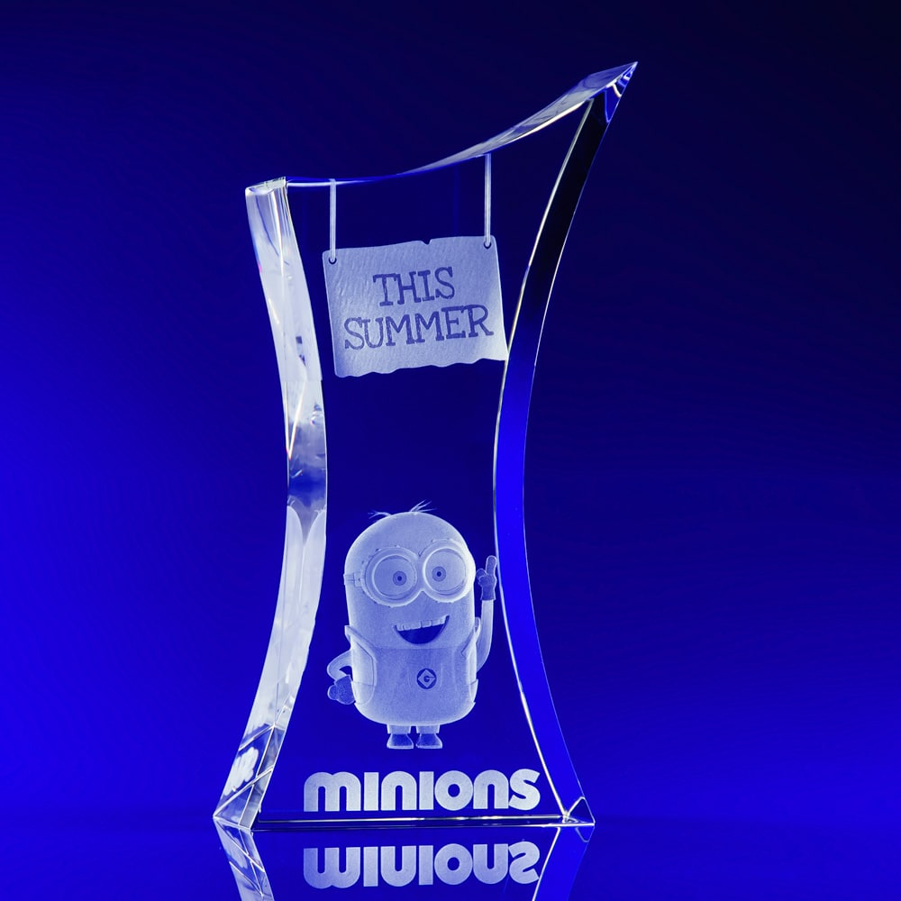 Crystal Trophy Award, Trophy Awards, Minions, Crystal Awards, Corporate Awards, 3D engraved crystal, corporate trophies