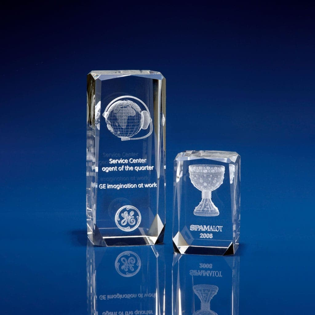 Personalised Free Standing Blue Glass Appreciation corporate Award Engraved