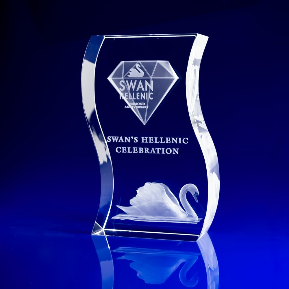 Wave, corporate awards, crystal awards, glass trophies, employee recognition awards