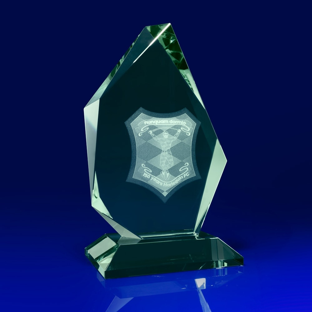 Arctic Jade Crystal Award, best employee award, 50th anniversary business ideas, corporate awards, Corporate crystal Awards, corporate promotional gifts, crystal art glass, corporate recognition awards, business awards, glass awards, glass corporate awards, event awards, sponsorship awards, industry awards, product promotional giveaways, crystal gifts, green glass awards, football, rugby awards,