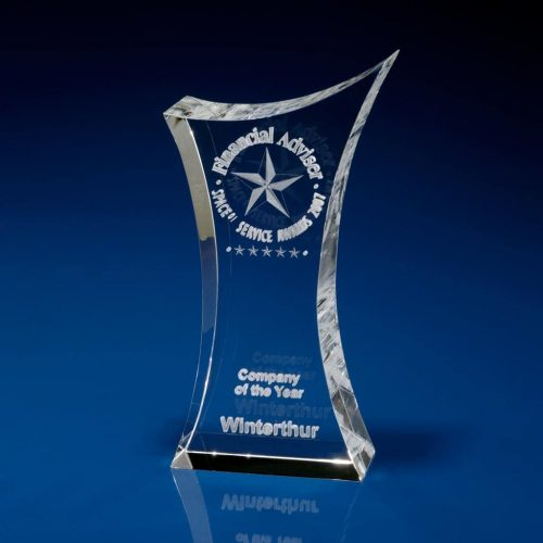 Corporate Crystal Trophy Paperweight