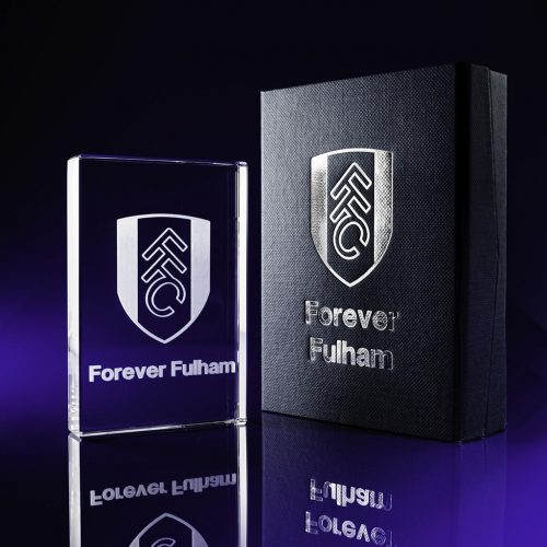 Plaque Crystal with branded foil block box