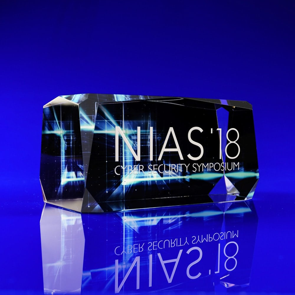 Colour print crystal paperweight NIAS Cyber Security