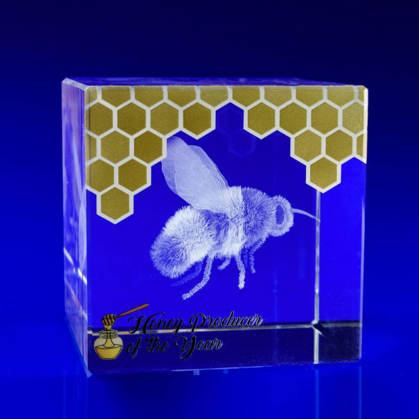 Bee award, metallic prints on crystal, bees, nature awards, crystal awards, corporate awards, metallic print effects on crystal, Glass Awards uk, bespoke awards, crystal art, corporate trophies, Corporate Crystal Awards