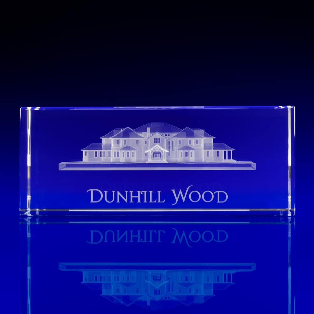 3D engraved bespoke glass awards