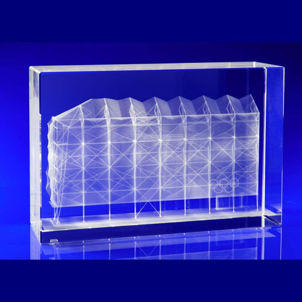 London Olympics Basketball Arena, Crystal Glass Art Installation, Glass awards engraved, laser engraved glass blocks, Glass engravers, Wilkinson Eyre's glass art blocks, London Design Festival