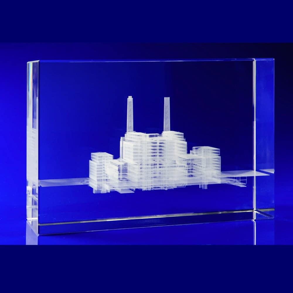 Battersea Power Station, Crystal Glass Art Installation, Glass awards engraved, laser engraved glass blocks, Glass engravers, Wilkinson Eyre's glass art blocks, London Design Festival