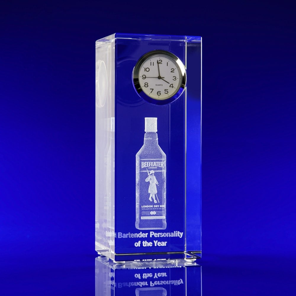 3D Engraved Crystal Clock Award