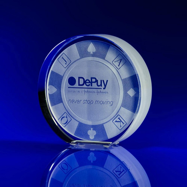 Crystal Award, office award ideas, 20 year business anniversary ideas, company anniversary awards, circle awards, circular crystal awards, disc awards, corporate awards, trophy awards, glass trophies, glass awards, tapered disc, corporate hospitality, poker, gambling awards, glass award, employee giveaways