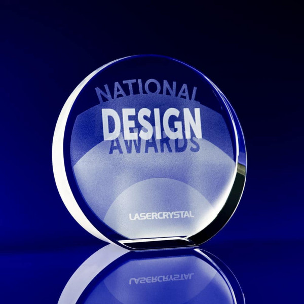 Crystal Award, Award ideas for students, glass award, circle awards, circular crystal awards, disc awards, corporate awards, trophy awards, glass trophies, glass awards