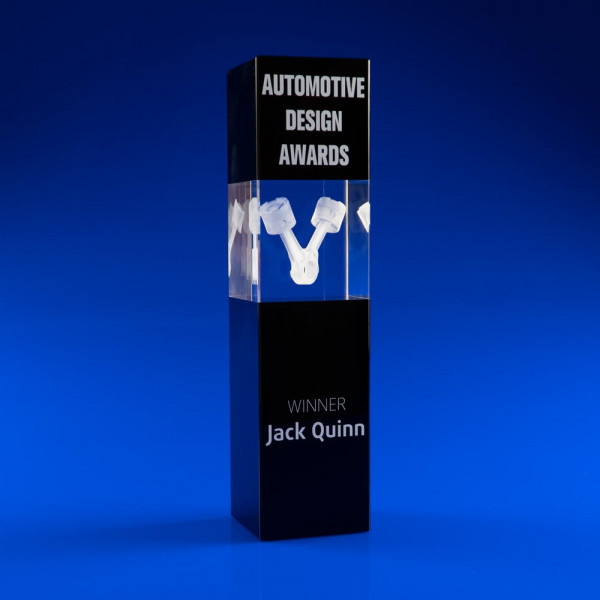 Black Tower Crystal award, Stunning awards in high quality crystal, modern award, glass award, crystal award,